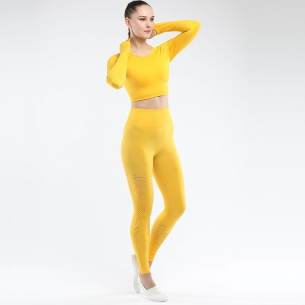 seamless yoga set women fitness clothing orange yellow