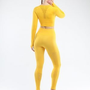 Seamless yoga set women fitness clothing yellow Park