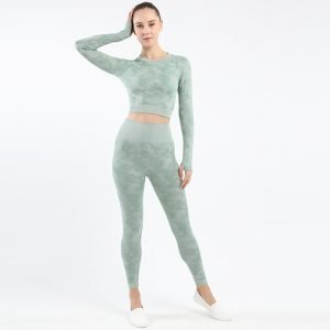 Seamless yoga top legging set bean green Camo