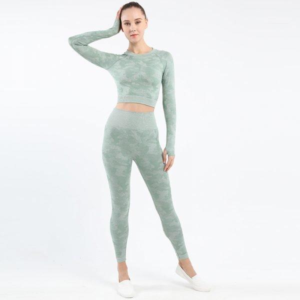 seamless yoga top legging set Camo bean green