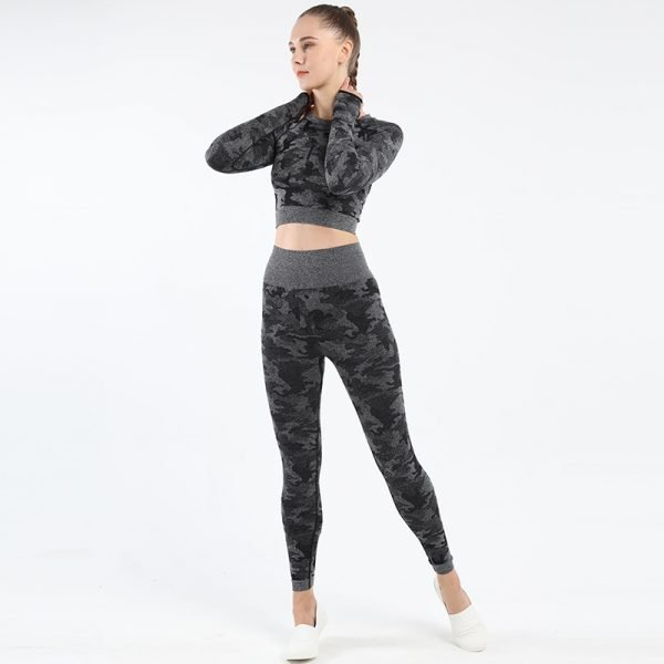seamless yoga top legging set Camo black