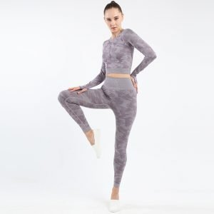 Seamless yoga top legging set light purple Camo