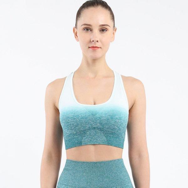 seamless yoga wear bra blue green Chang