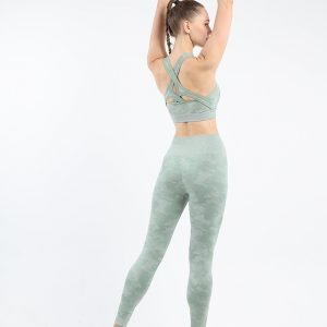 Seamless yoga wear bra legging set bean green Camo