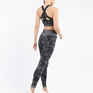 Seamless yoga wear bra legging set black Camo