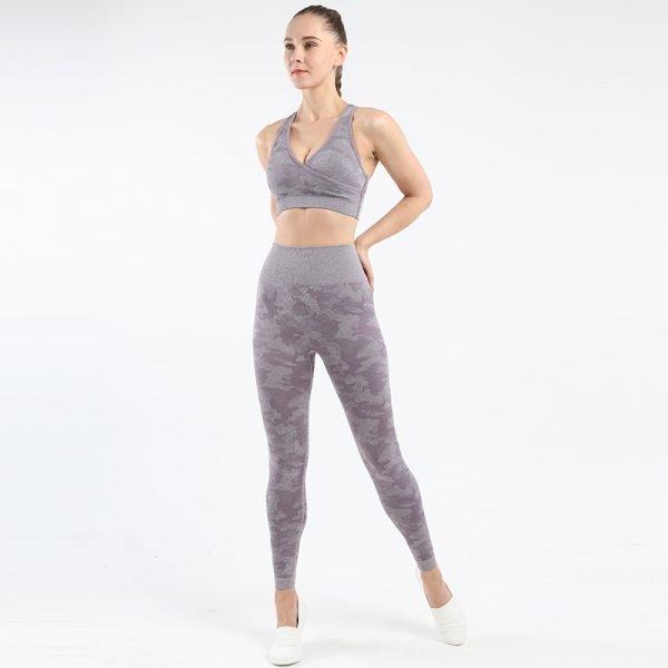 seamless yoga wear bra legging set Camo light purple