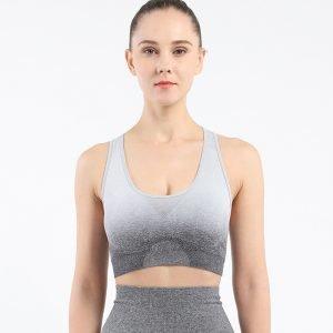 Seamless yoga wear bra light grey Change
