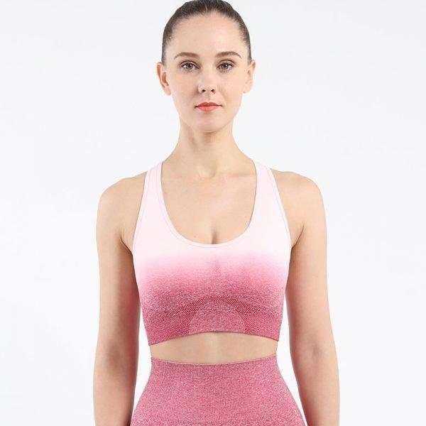 seamless yoga wear bra rose red Change